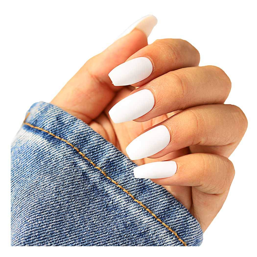 Barode White Frosted 24Pcs False Nails Matte Full Cover Medium Ballerina Square Coffin Natural Fashion Acrylic Fake Nail for Women and Girls