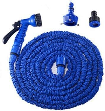 FQMAO Garden Hose, with 7 Function Spray Nozzle, Telescopic Hose for Watering Foldable Hose for Easy Home Storage,Blue