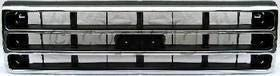 Grille Assembly Compatible with 1989-1991 Ford F-150 Chrome Shell/Painted Dark Argent Insert