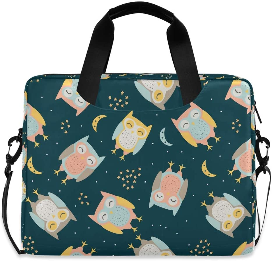 Laptop Bag Briefcase Shoulder Bag - Hand Drawn Cute Owl with Seamless Pattern 15.6 Inch Tote Bag Laptop Messenger Shoulder Bag Laptop Carrying Bag, Great to Work, Office