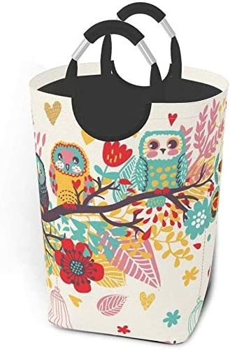 Silinana Floral Owl Branch Large Laundry Basket Collapsible Laundry Hamper Foldable Clothes Bag Washing Bin