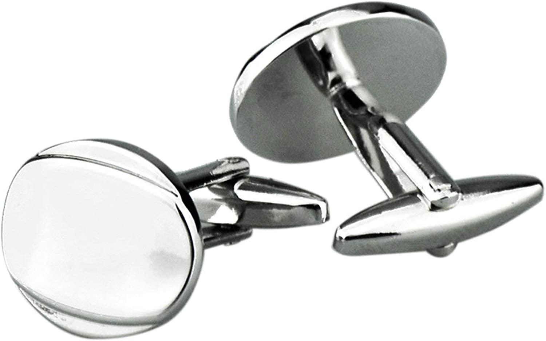 KnSam Wedding Cufflink Copper Cuff Link Silver Oval