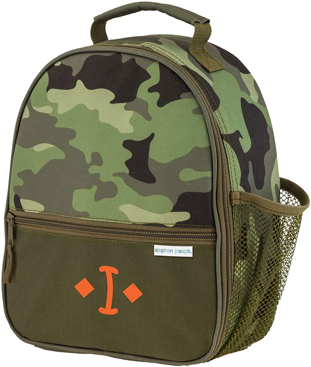 Monogrammed Me All Over Print Lunch Box, Green Camo, with Vinyl Kids Monogram