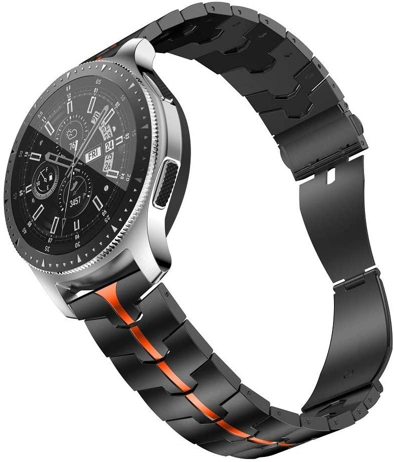 RABUZI Compatible for Samsung Galaxy Watch 46mm Bands,22mm Enamel Process Titanium Metal Watch Strap Compatible Samsung Gear S3 Frontier/Classic Smartwatch,Black+Orange Enamel Process