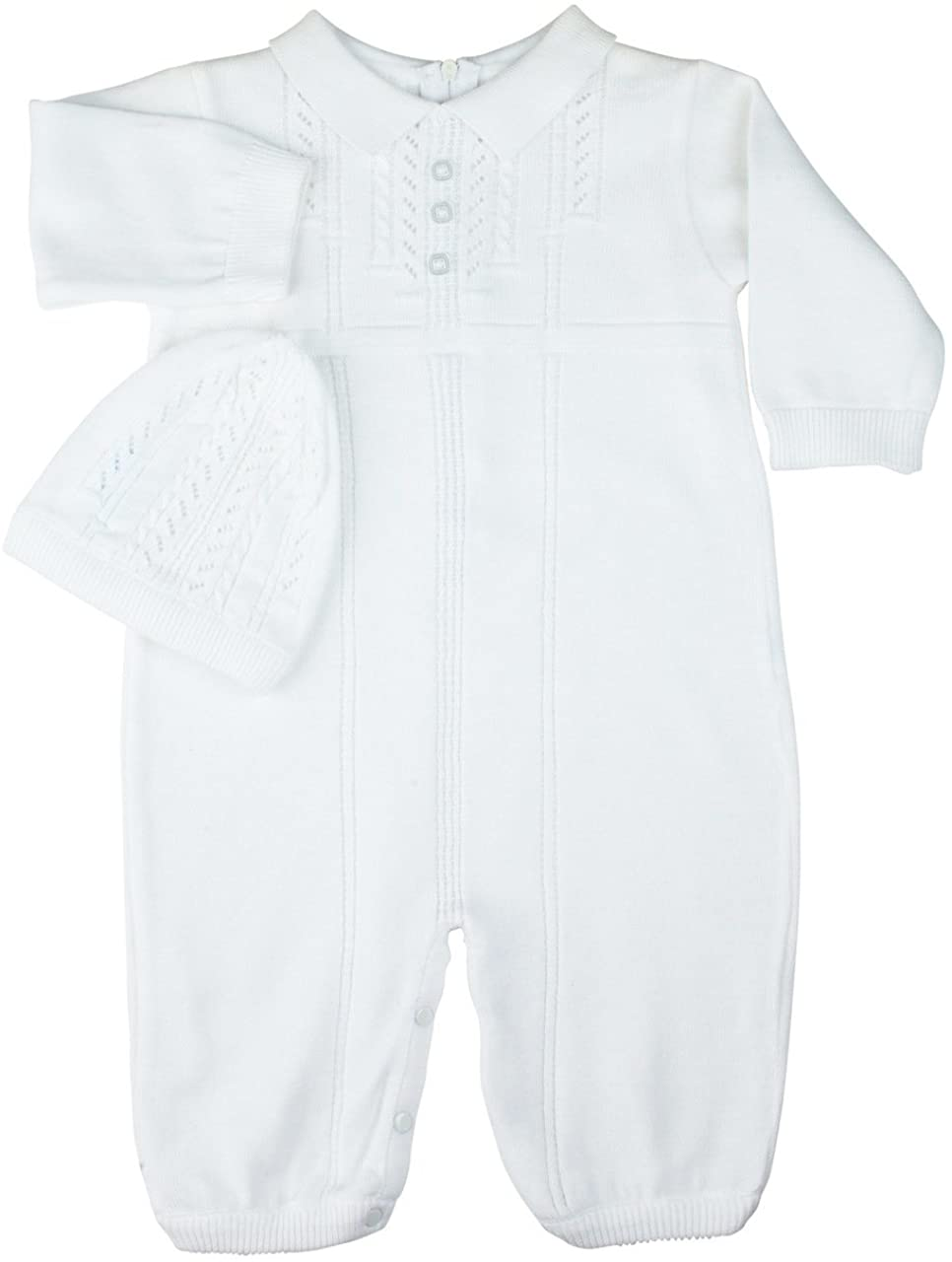 Feltman Brothers Unisex White Knit Romper Hat Set Take Home Outfit (9M)