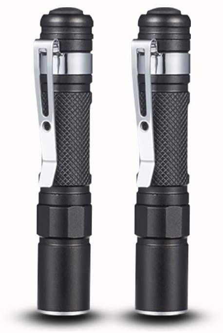 A1 Mini Portable Flashlight LED Bright Flashlights AAA Battery Powered Zoom Adjustable Focus Flash Light Waterproof Handheld Torch Lamp With Pocket Clip For Kids, Camping, Hiking, Emergency (2 Pack)