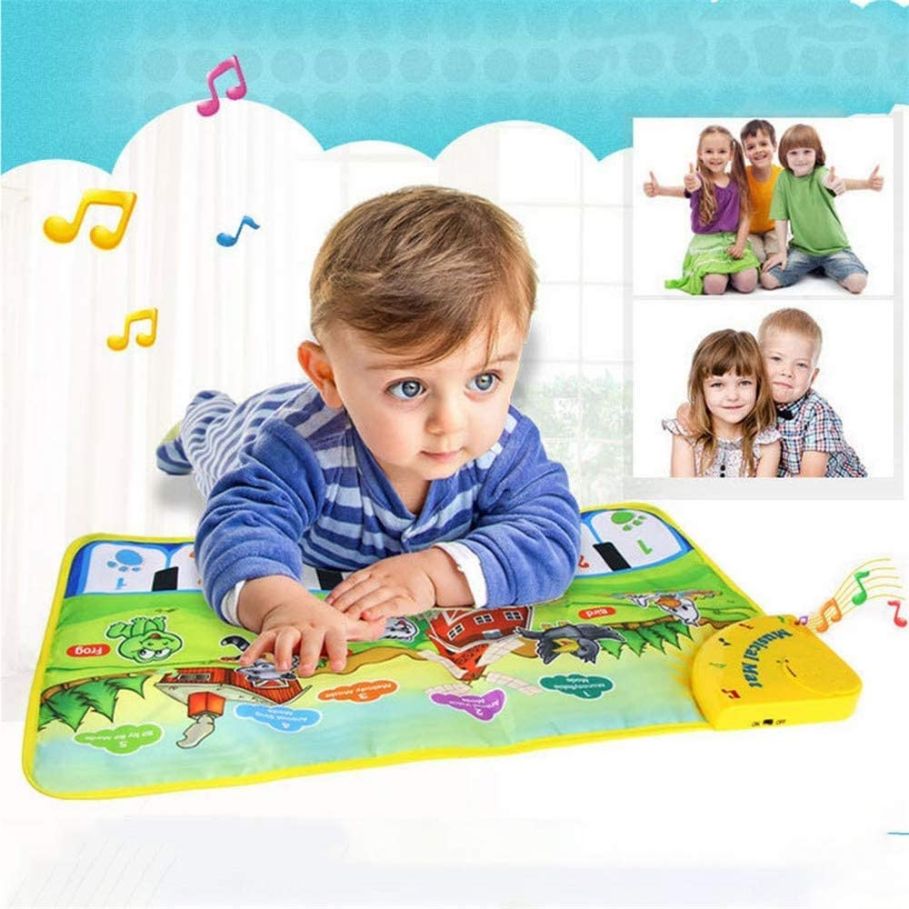 Asnails Musical Piano Mat,Colorful Dance Mat Musical Instruments for Toddler 8 Piano Keyboard 5 Mode and 8 Song Animal Sound Educational Toy Gift
