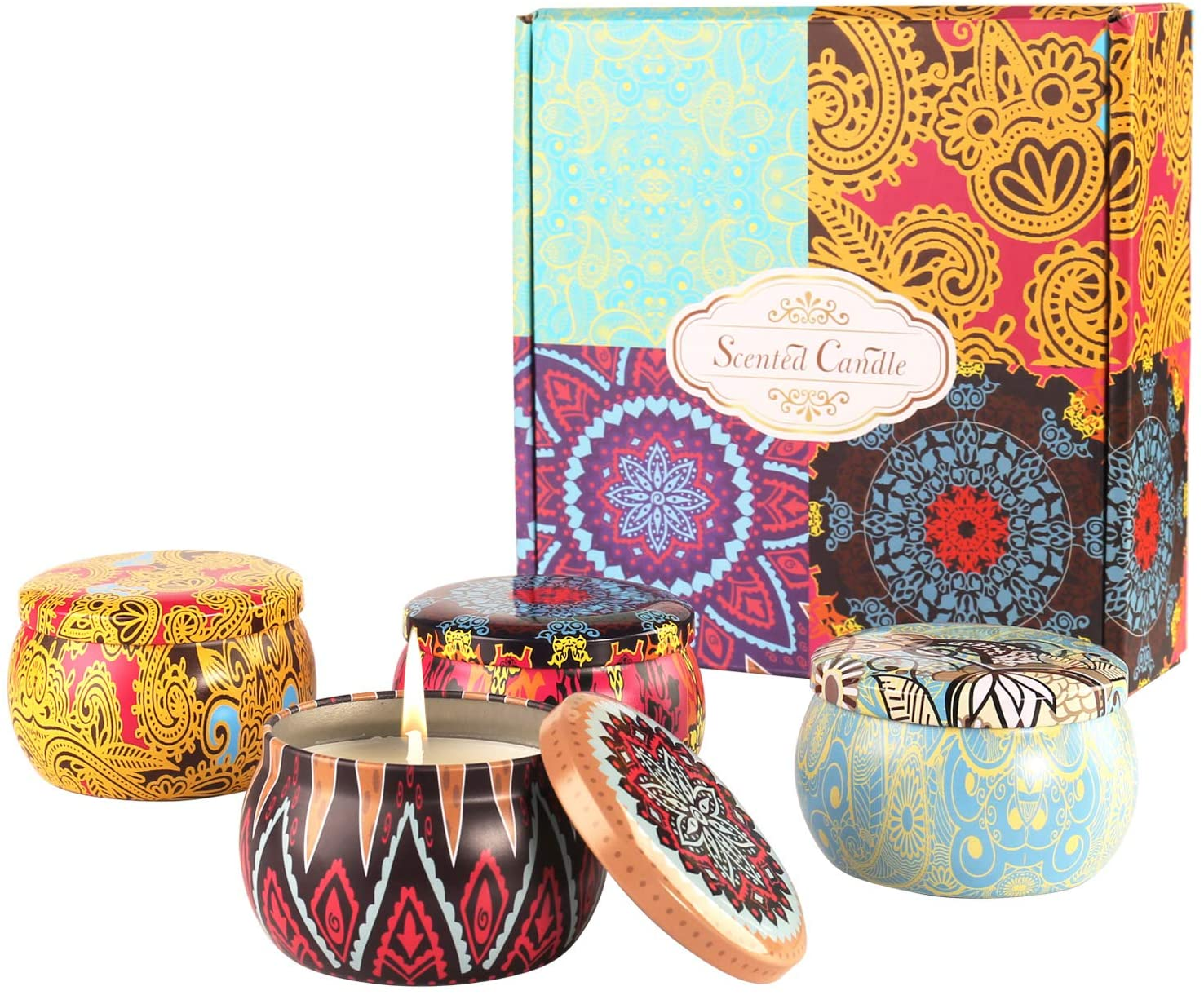 Scented Candles Gift Set,Lavender, Lemon, Mediterranean Fig, Fresh Spring,Natural Soy Wax Portable Travel Tin Candle Women Gift with Strongly Fragrance-4pack