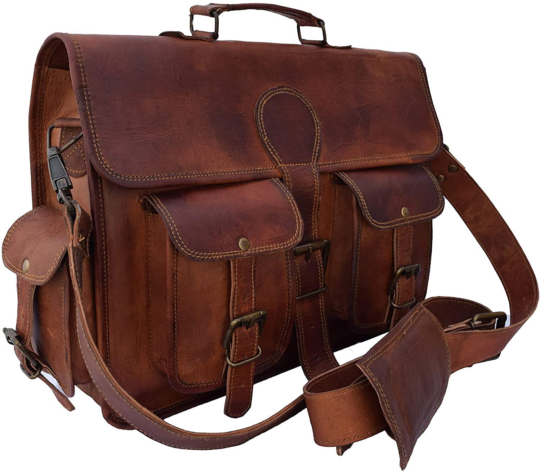 15 Inch Handmade Genuine Leather Laptop Messenger Bag Briefcase Office Bag for Men