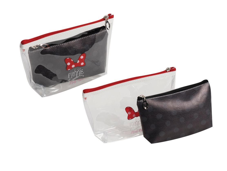 DISNEY Minnie mouse 2 bag bath hanging travel pouch case set transparent & black