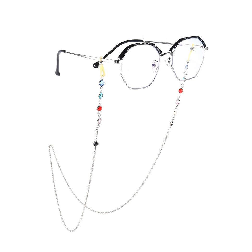 YienDoo Bohemia Womens Eyeglass Chains with Color Rhinestone Eyeglass Accessories Eyewear Retainer - Eyeglass Strap Holder - Sunglass Retainer Strap (Silver)