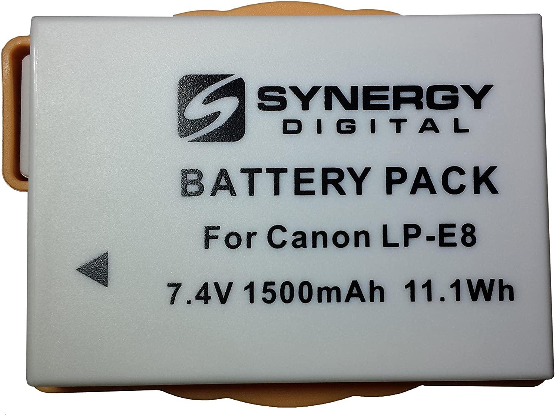 Synergy Digital Camera Battery, Works with Canon EOS Rebel T3i Digital Camera, (li-ion, 7.4V, 1500 mAh) Ultra Hi-Capacity, Compatible with Canon LP-E8 Battery