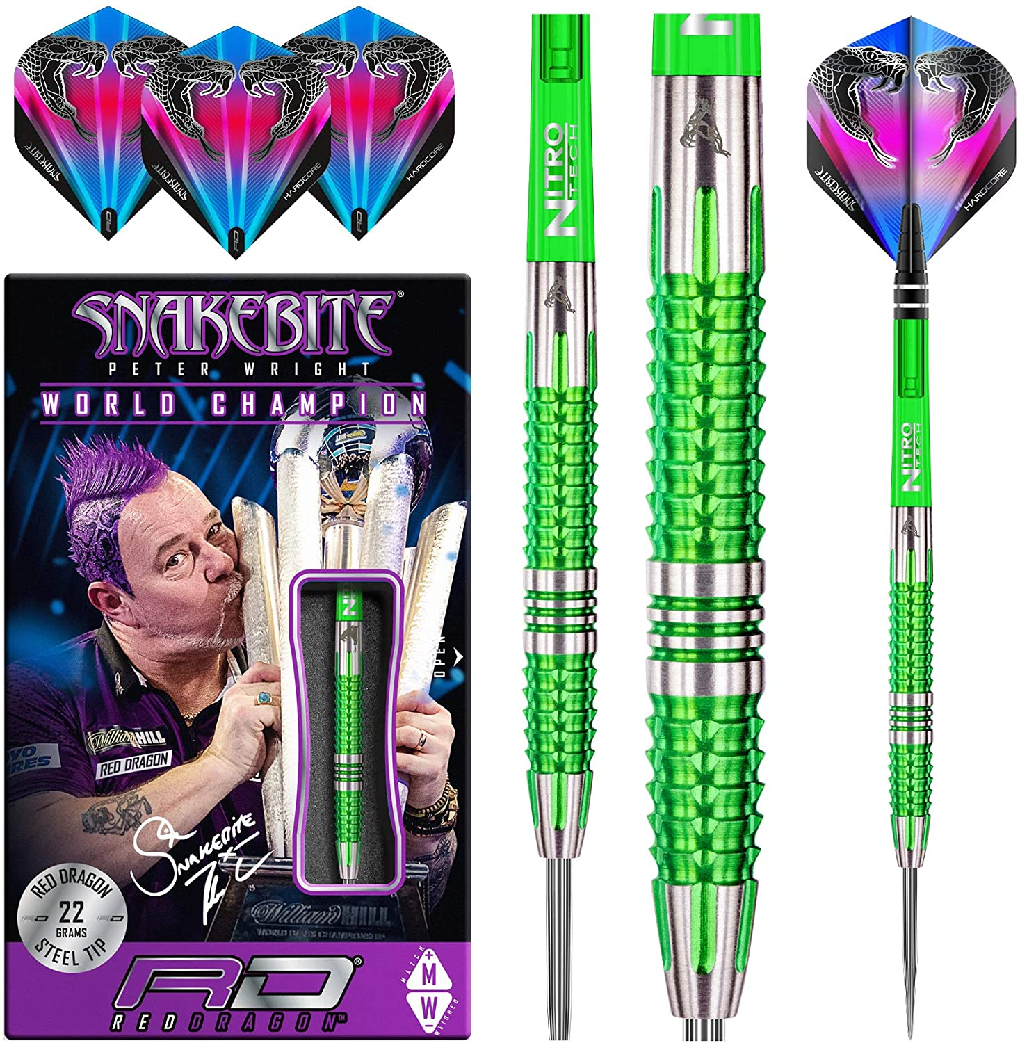 Red Dragon Peter Wright Snakebite Mamba 2: 22g or 24g Tungsten Darts Set with Flights and Stems