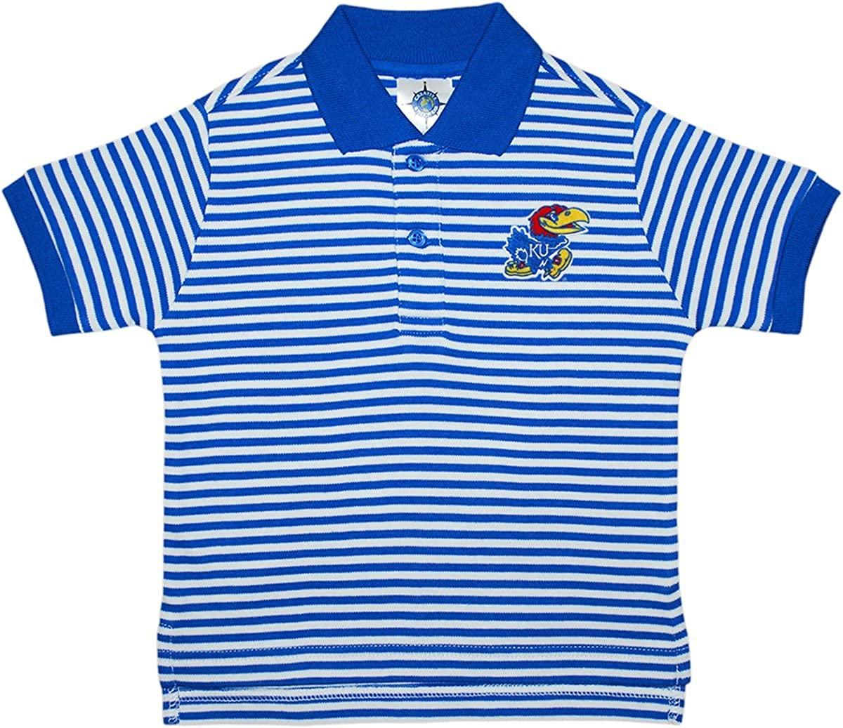 Creative Knitwear University of Kansas Jayhawks Striped Polo Shirt