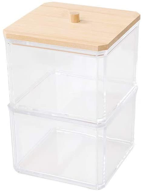 minansosteyMakeup Cotton Pads Swab Storage Bin Cosmetics Organizer Box with Bamboo Cover