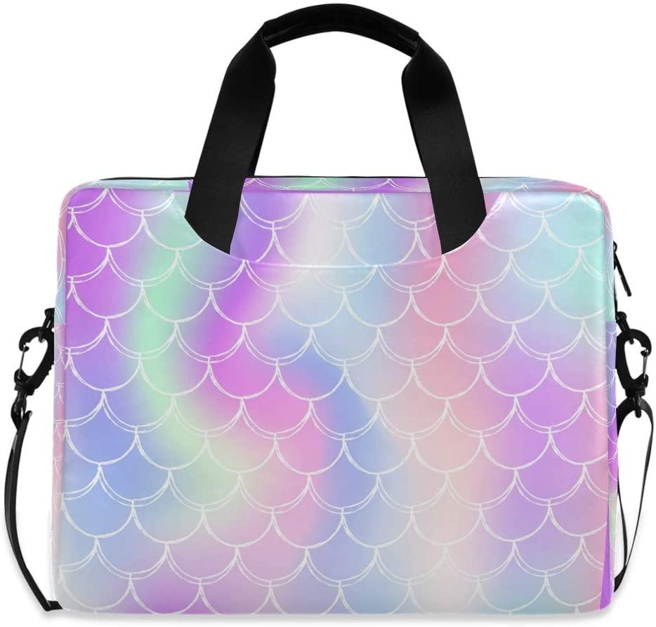 Laptop Bag Briefcase Shoulder Bag - Mermaid Scales Holographic Gradient 15.6 Inch Tote Bag Laptop Messenger Shoulder Bag Laptop Carrying Bag, Great to Office, University
