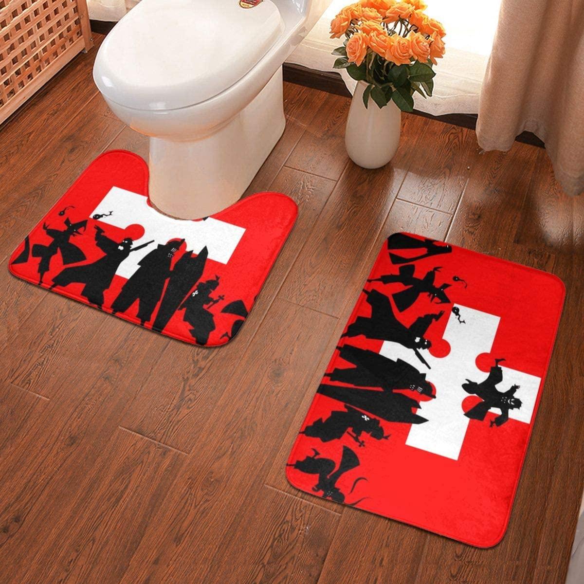SKGQZD Fire Force Bath Mats 3 Piece Set Bathroom Carpet Set Soft Anti-Skid Bath Rug Mat - U Contour Pads - Absorbent Carpet Bath and Mat for Decorations Bathroom