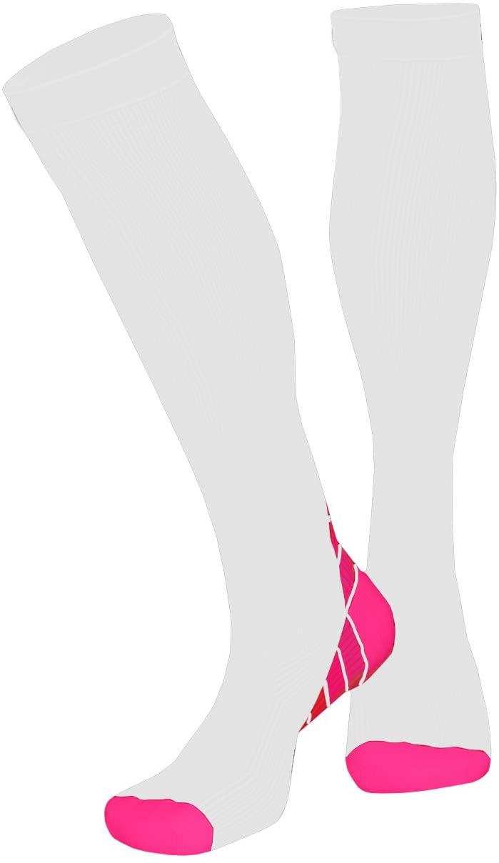 T5RSOX Compression Socks Women Best for Travel, Nurses, Pregnancy, 20-25mmHg, White/Hot Pink, XL