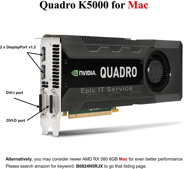 Quadro K5000 for Mac, 4GB GDDR5 PCI Express Gen 2 x16, DVI-I DL, DisplayPort, DirectX (Boot Camp), CUDA and OpenCL Profesional Board - Epic IT Service
