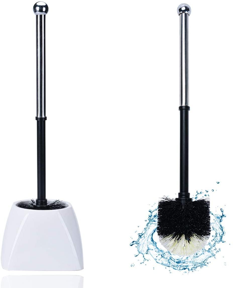 TreeLen Toilet Brush Toilet Bowl Brushes with Holder Set Long Handle Toilet Cleaner Scrubber Bathroom Scrub Cleaning–Plastic -White