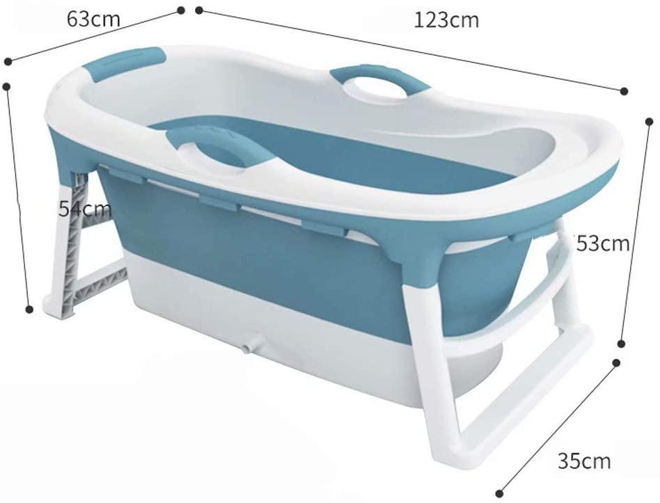 Folding Bathtub Adult Plastic Bathtub Household Bath tub,Environmentally Friendly PP/TPE Material, Comfortable and Safe, Long-Term Lock Temperature(Color:Blue)