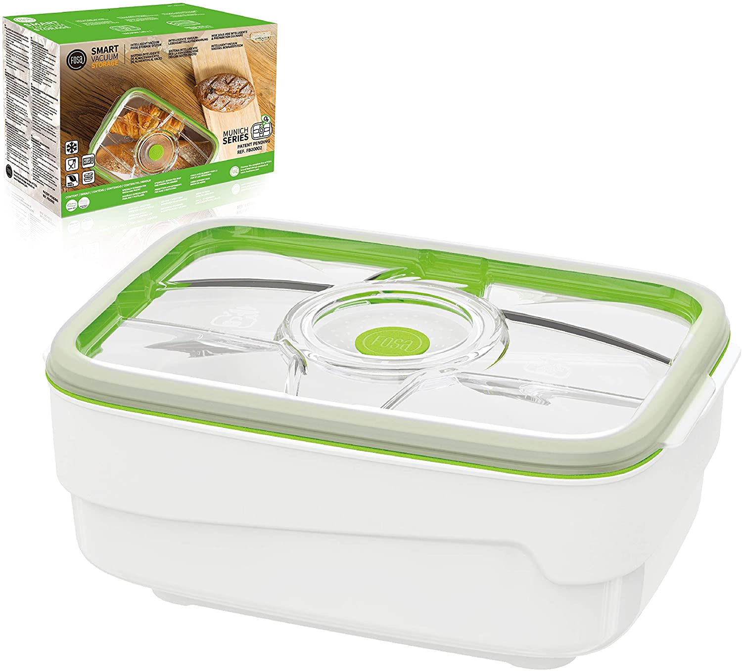 FOSA extra large 4L bread box container - compatible with TURTLE vacuum pump