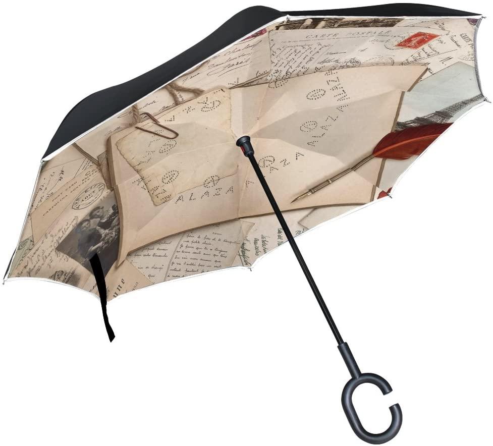 Vipsk Umbrella Reverse Umbrella Ancient Yellowed Letters Creative Cars Umbrella Double Layer Inverted Umbrella Windproof Straight Waterproof Inside Out Travel Umbrellas