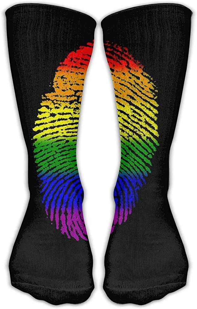 HAIRUIYD Knee High Socks Rainbow Finger Prints Women's 30 CM Work Stance Athletic Over Thigh High Long Stockings