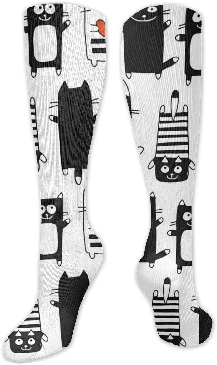 Compression Sock for Women & Men,Funny Cats CasualLongKneeHighTubeSocksforRunnning,SoccerAthleticSports,Travel-50cm