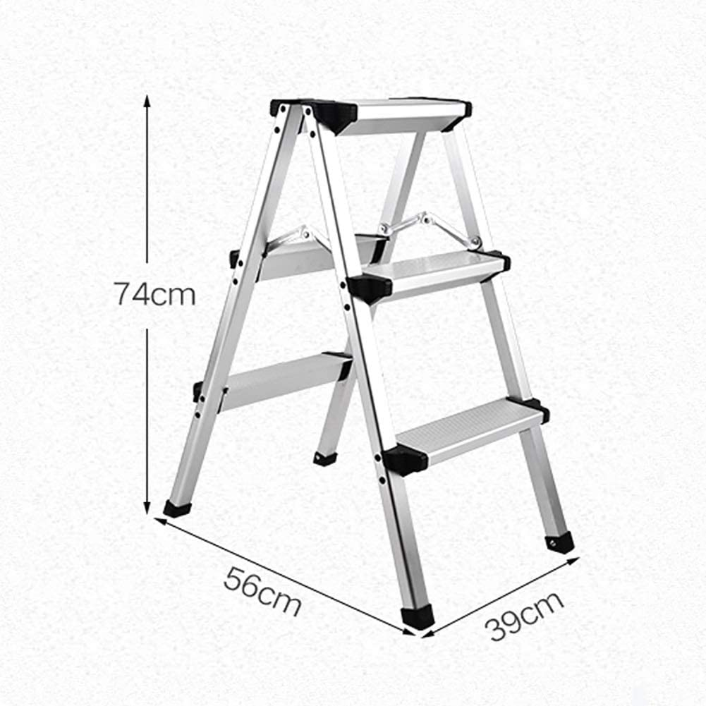 LADDER Household Step Stool, Photography Folding Step Stool, Step Stools Folding Step Stools for Adult, 3 Step Ladders for Kitchen/Office, Sturdy Stepladders with Wide Pedal, Silver/Black/Ivory White