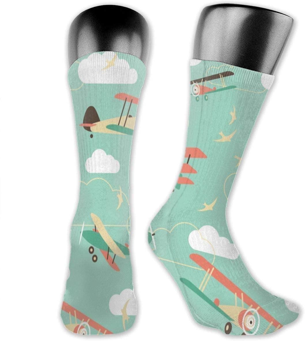Cartoon Plane Unisex Outdoor Long Socks Sport Athletic Crew Socks Stockings