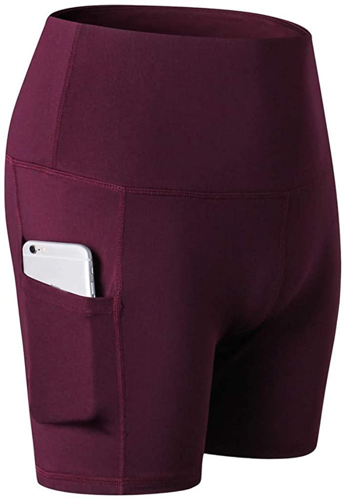 ZEFOTIM Women's High Waist Tummy Control Workout Yoga Shorts Side Pockets