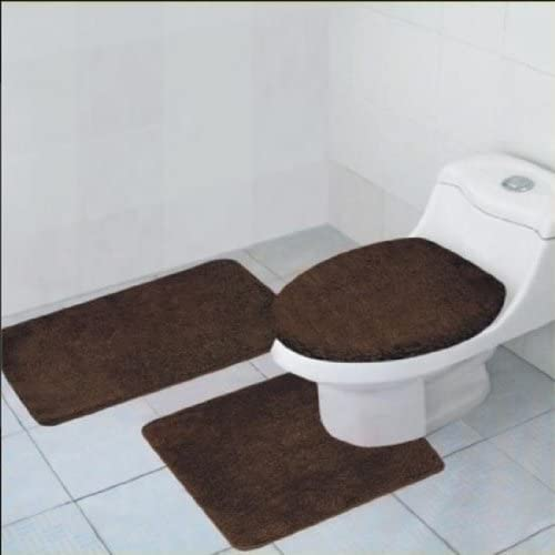 3-Piece Quinn Solid Bathroom Accessory Set Bath Mat Contour Rug Toilet Lid Cover - Brown