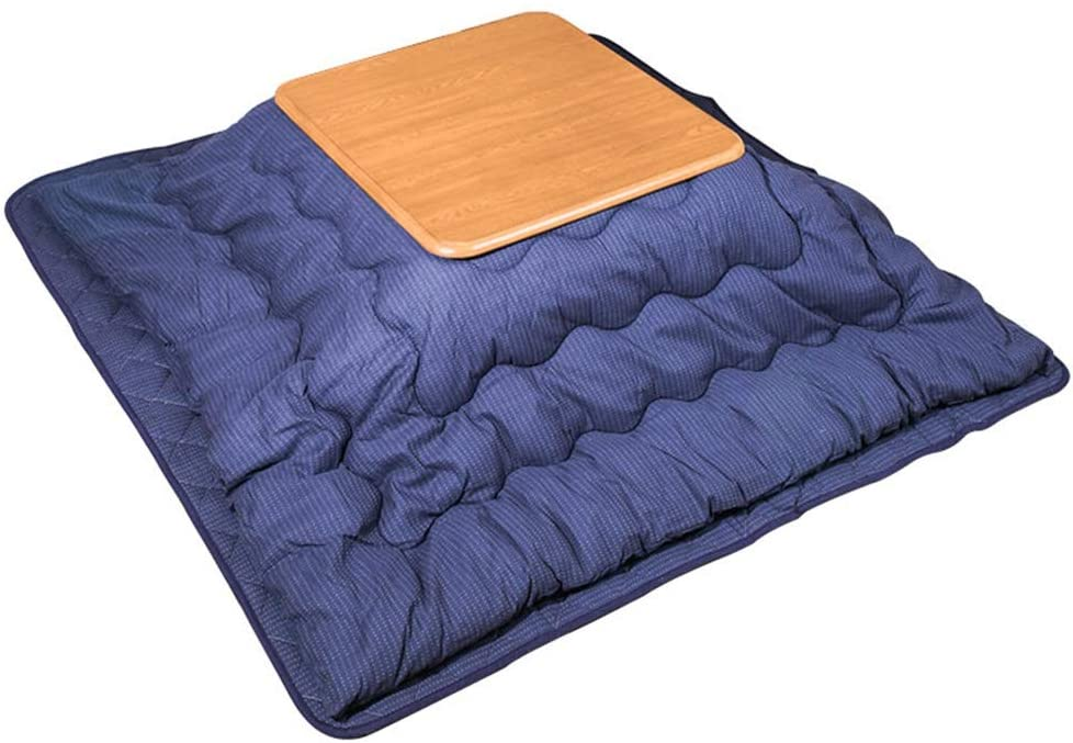 Japanese Kotatsu Table with Heater and Blanket, Comforter, Tatami Futon Coffee Tea Table Wood Square Large for Living Room, Blue