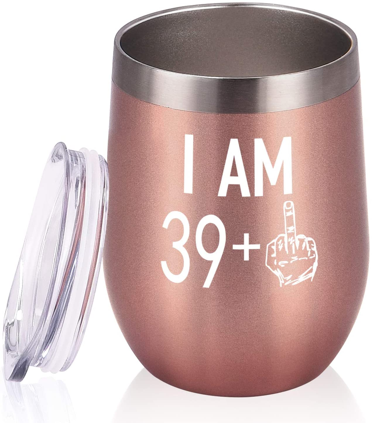 39 Plus One Middle Finger Wine Tumbler, 40th Birthday Gifts for Women Men, Wine Tumbler with Saying Funny Gifts Idea for Wife Mom Friends Coworkers, 12 Oz Insulated Wine Tumbler Glasses, Rose Gold