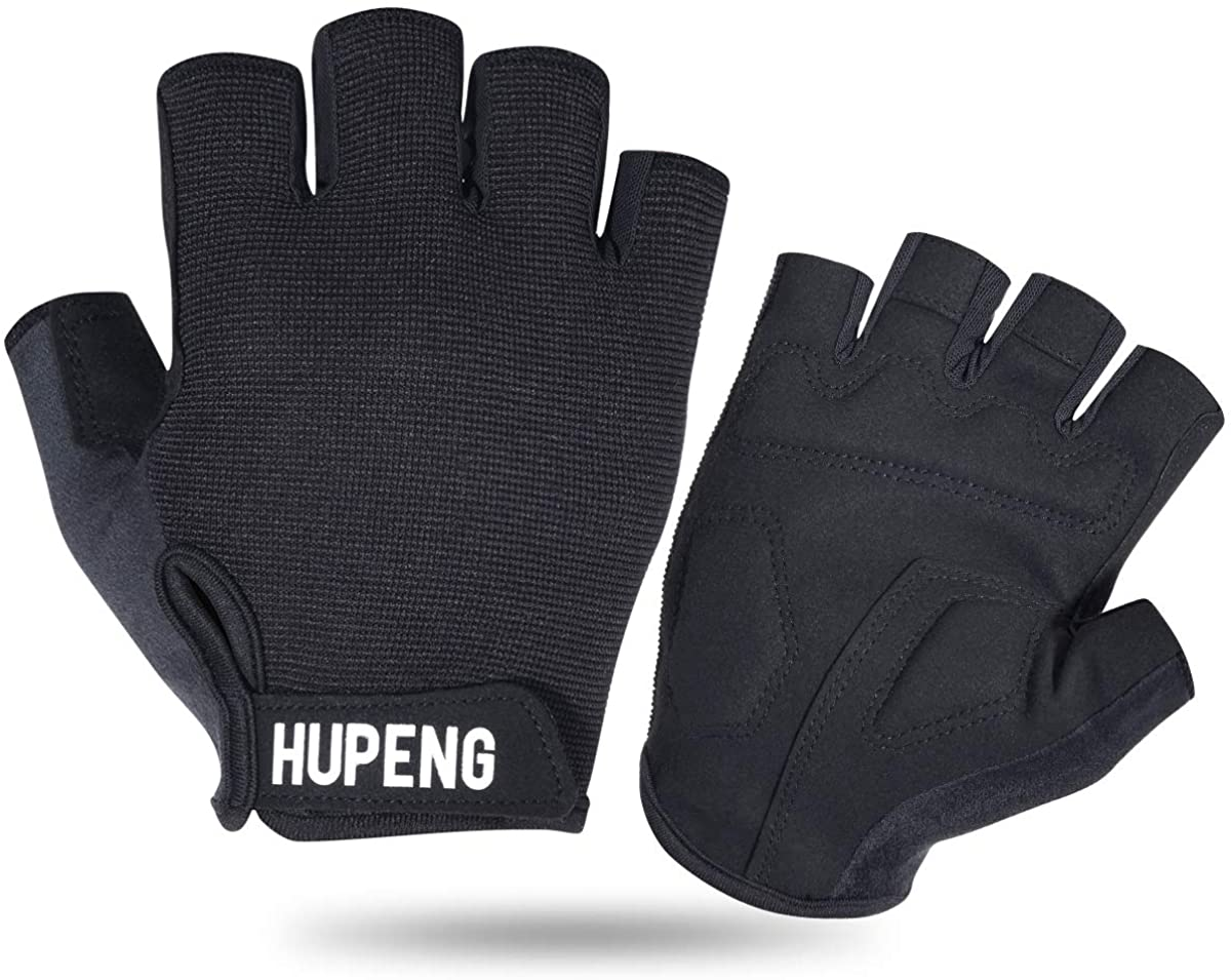 HUPENG Mountain Bike Gloves, Anti-Slip Shock Absorbing Padded Fingerless Cycling Gloves for Men/Women