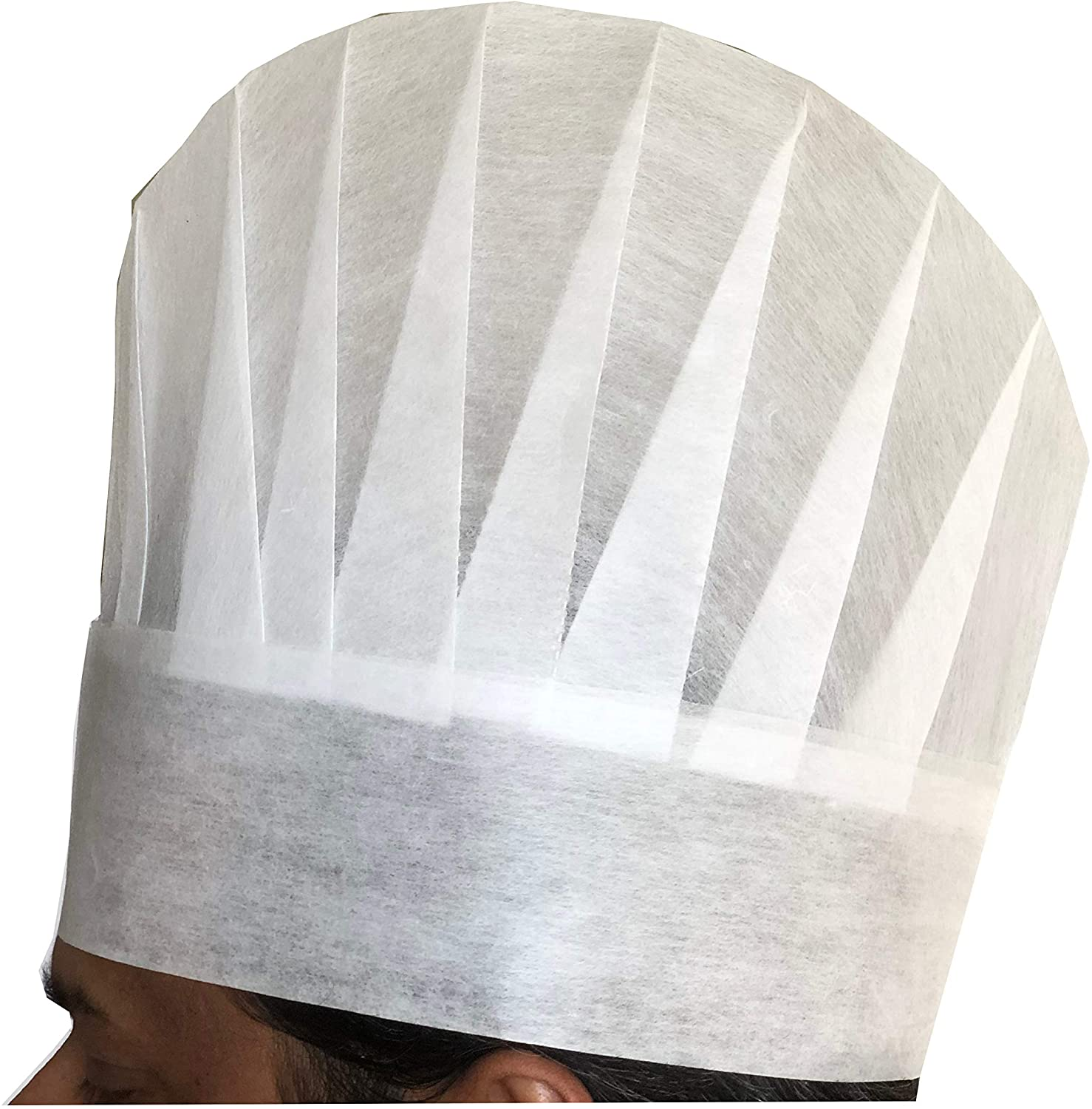 Chef Hats 25 Pack Disposable White Poly-Viscose Non-Woven Oval Top Toque Traditional European Style Chef Caps