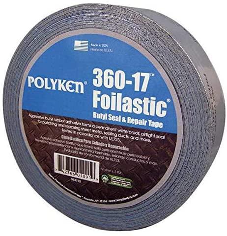 POLYKEN 360-17 Foil Tape,48mm x 31m,Foil Z32732
