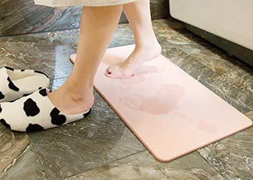 Home Cal Non-Slip Bath Mat,Absorbent Diatomaceous Earth, Fast Drying Shower Mat,Mildew Resistant Bathroom Floor Carpet,Bath mat(Pink,23.62