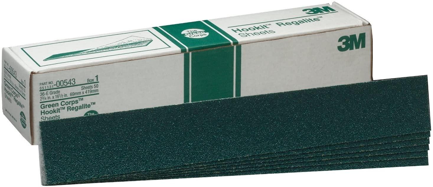 3M Green Corps Hookit Sheet, 00543, 36, 2-3/4 in x 16-1/2 in, 50 sheets per carton
