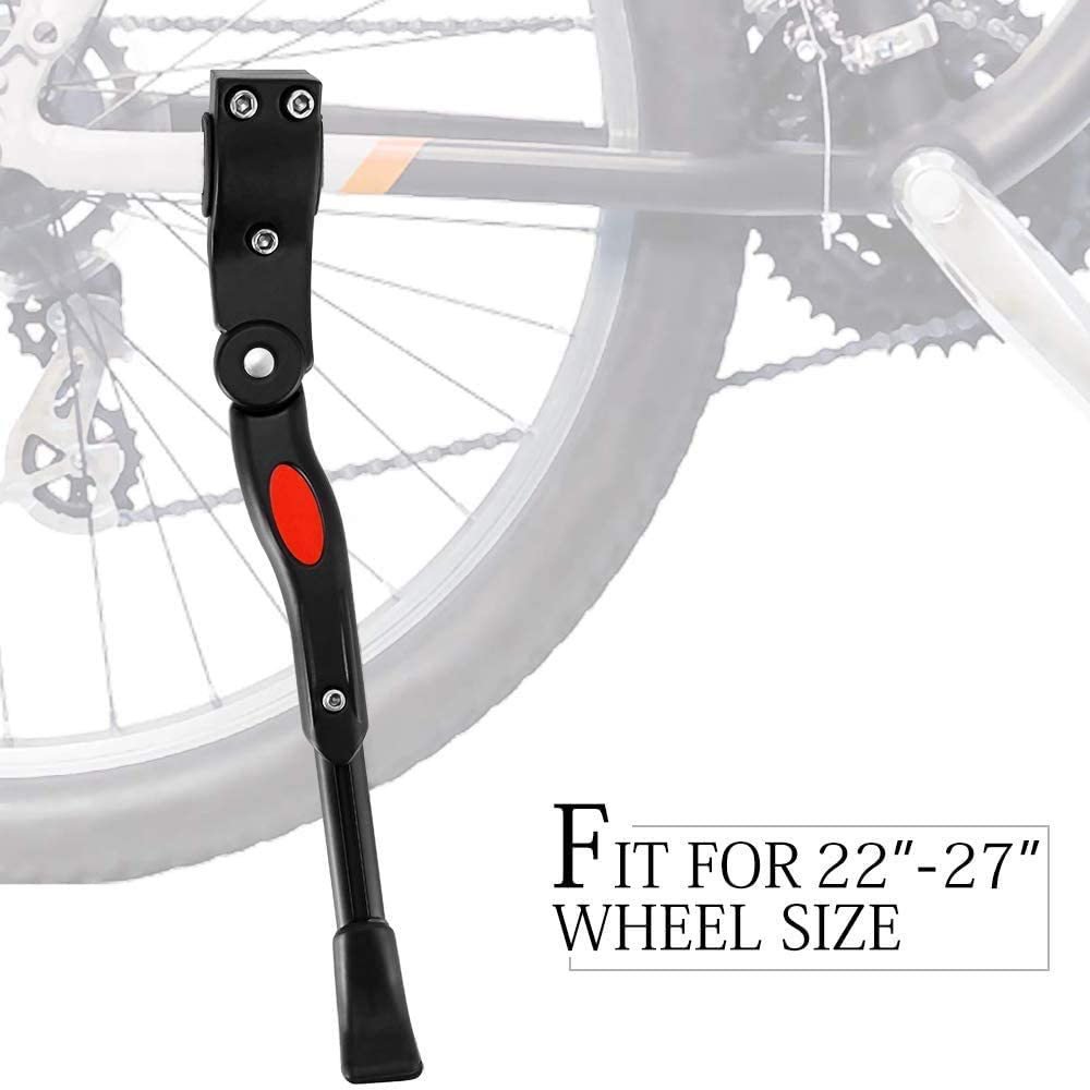 Houkiper Bike Kickstand Aluminum Alloy Bicycle Kickstand Adjustable Non-Slip Rear Side Bike Kick Stand for 22 24 26 27 Mountain Bike Adult Bike/700 Road Bike/BMX/MTB