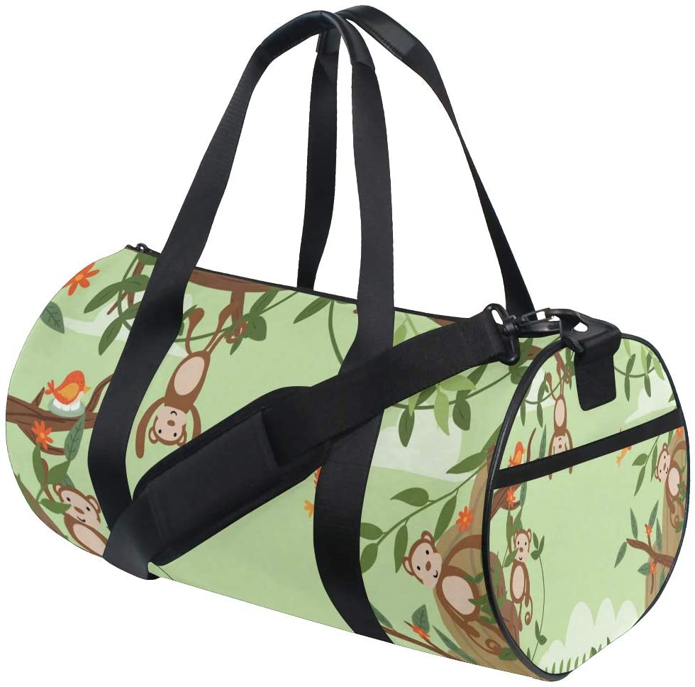 Brighter Cute Monkeys Fitness Sports Bags Gym Bag Travel Duffel Bag for Mens and Womens