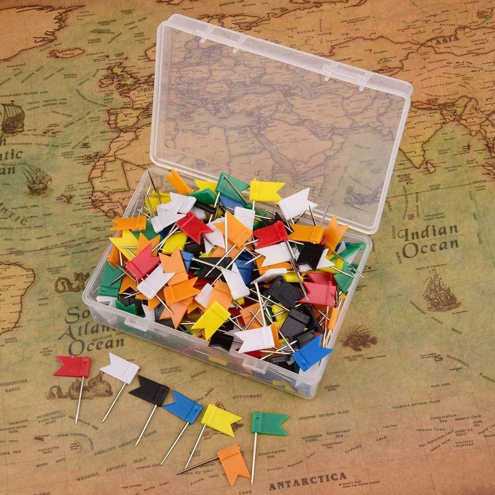 Clips 100pcs Flag Push Pins Nail Thumb Tack Cork Board Map Drawing Pins Wall Nails for Home Office School Stationery Supplies 7 Colors