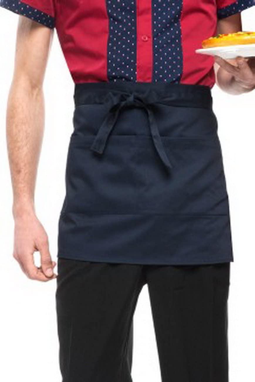 geranjie Fashion Waist Kitchen Cooking Apron Polyester Stripe Half Body Apron for Chef Waiter Restaurant Cooking Accessories