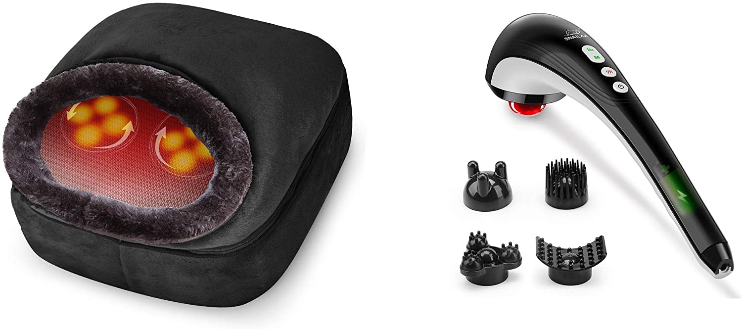 Snailax 2-in-1 Shiatsu Foot and Back Massager Handheld Massager Bundle   Kneading Feet Massager Machine with Heating Pad, Back Massage Cushion or Foot Warmer,Massagers for Back,Leg,Foot Pain Relief