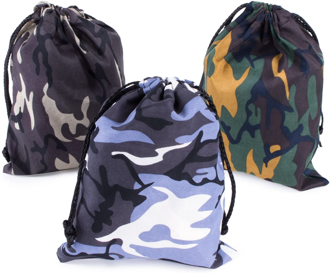 Camouflage Drawstring Travel Bags Pouch Sacks for Party Favors, Outdoor Camping Picnics, Hiking (24 Pack)