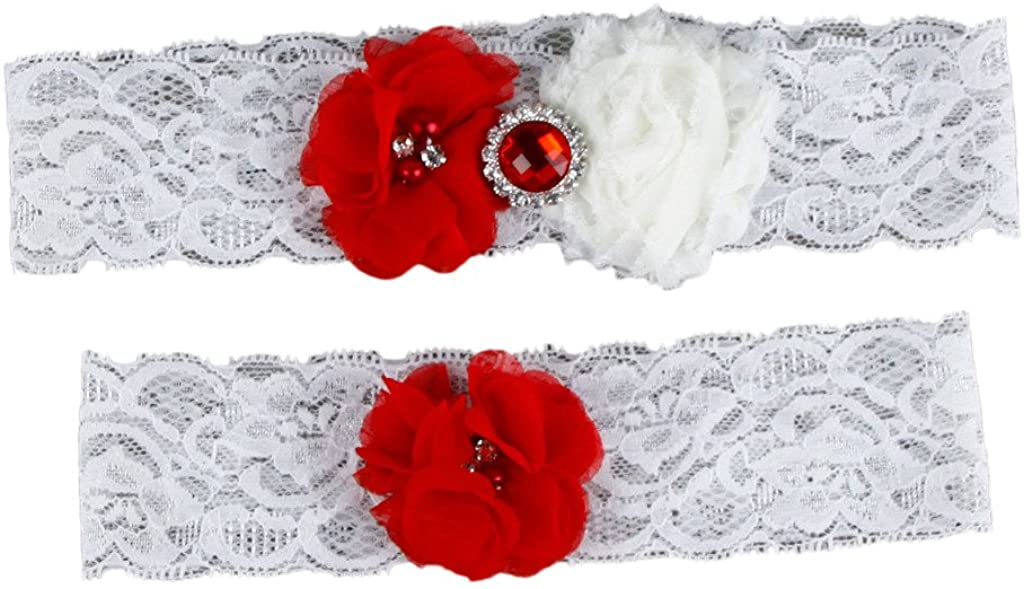 Eliffete Red Chiffon Flower Wedding Lace Garter Set Keepsake Toss Away with Flower