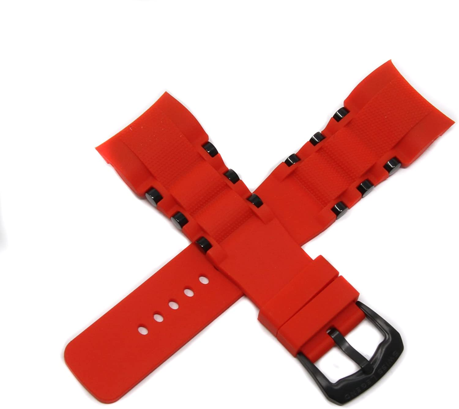 Swiss Legend 26MM Red Silicone Watch Strap Stainless Steel Black Buckle fits 47mm Commander Pro Watch