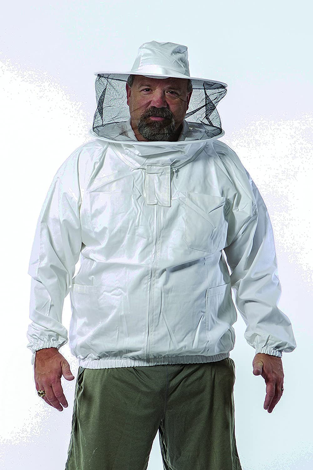 Pigeon Mountain Trading Company PM9279R2X-A Front Open with Round Hood Unisex Beekeeper Jacket, White