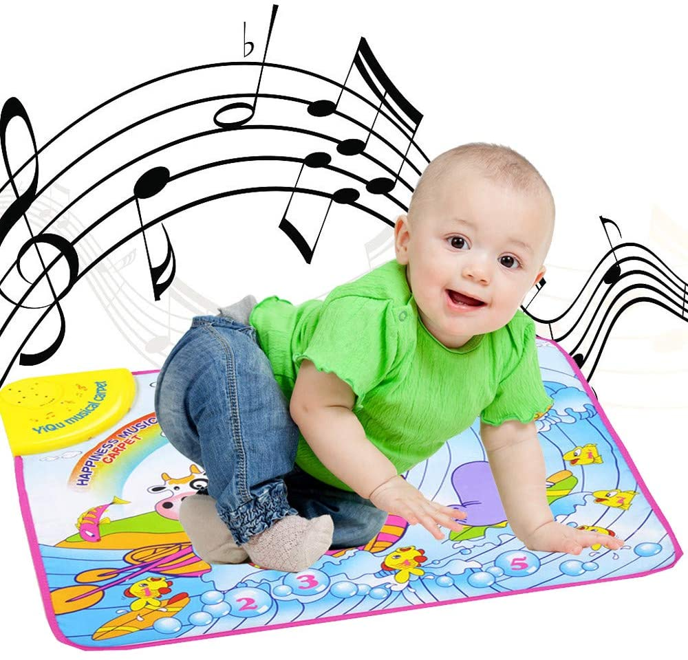 HDGTSA Kids iano Keyboard Dancing Mat Electronic Funny Animal Touch Carpet Musical Blanket Toys for 3 Year Old Girl Birthday Gifts for Kids(A)